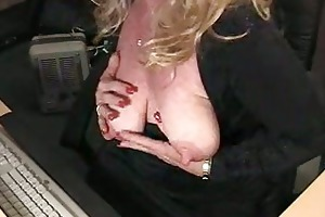 overweight aged honey fondles and fill her