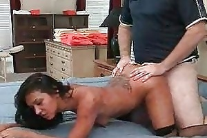 brunette mother i in nylons acquires a pussy