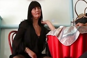 sexually excited aged brunette hair seduces cu...