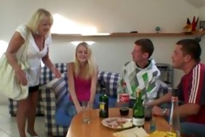 partying chaps team fuck blond granny