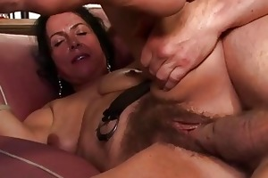 concupiscent granny acquires her curly twat fucked