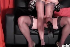 lascivious crossdresser has footjob and tit