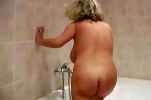 golden-haired older in the shower