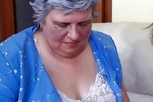 old breasty granny playing with skinny cutie