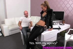 femaleagent teasing agent filled full of cum in