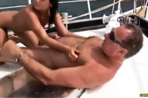 non-professional unfathomable oral-sex on the boat