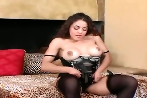 busty milf in stockings a brassiere and hawt high