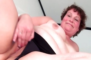 aged lustful girl goes down on herself