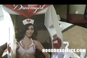 henny red disrobe and try on nurse outfit