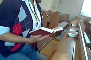 woman masturbates in the church