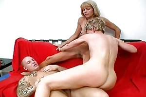 hawt granny bitches share one lucky cock