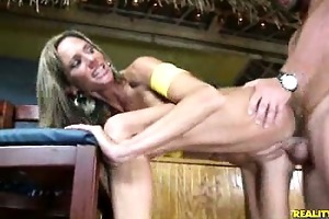 montanna gets it is doggy style on top of bar