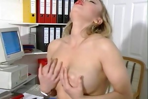 sexually excited breasty gal at work