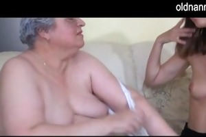 old breasty granny playing with slender gal