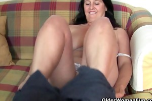 plump and older housewife acquires finger drilled