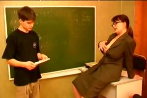 russian older teacher and youthful man russian