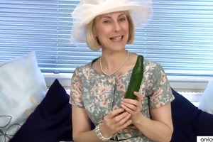 slutty older granny copulates a cucumber