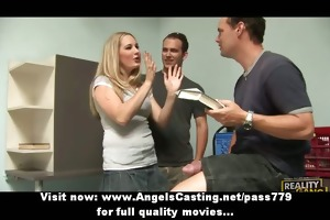 blond schoolgirl does oral sex and tugjob for