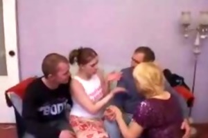 aged broad receives fortunate in group gangbang