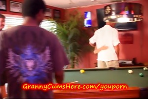granny gets gang group-fucked at poolhall
