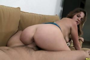 claire rides a massive cock.