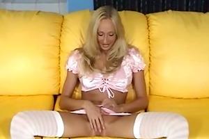 blond bitch sucking a miniature pecker