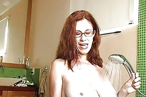 nasty redhead mother i with glasses receives cum