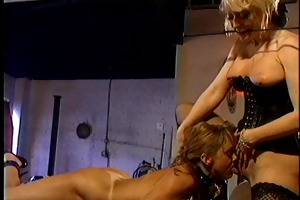 golden-haired with large breasts fastened and