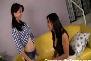 hawt brunette mother i seduces youthful slutty
