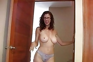 enormous chested redhead momma with glasses shows