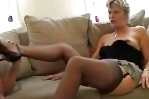 golden-haired mature non-professional wife