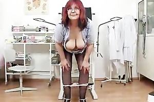 redhead massive boobies cougar widens her haired