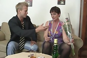 she is takes his stiff juvenile pecker