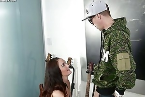 milf receives on her knees and sucks ramrod for