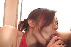 nana nanami in a red bodysuit attacked by lustful
