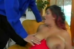 very marvelous woman with massive boobs in nylons