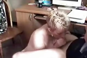 blond wife sucks pecker