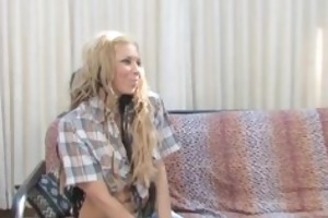 lesbian seducing sexy golden-haired fundraiser