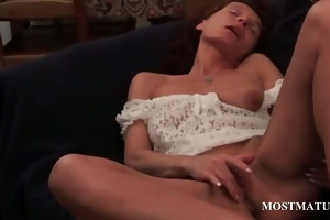 skinny aged fingering her bawdy cleft