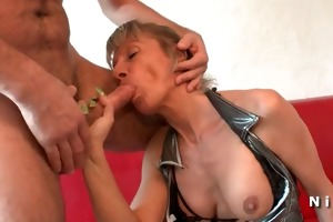 breasty french older in underware double teamed