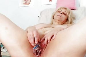 concupiscent blonde older lady at gyno exam