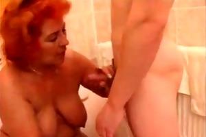 redheaded granny screwed in washroom