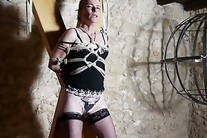 hogtied slavery caning for french aged villein